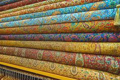 The stack of colorful iranian textile, Tehran, Iran Royalty Free Stock Photos