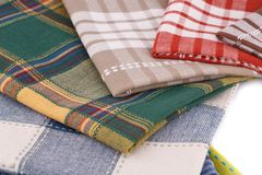 Kitchen towels. Stack of colorful kitchen towels closeup picture Stock Image