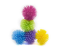 A stack of colorful koosh balls Stock Photos
