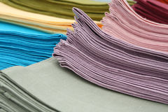 Stack of colorful linen towels Royalty Free Stock Image