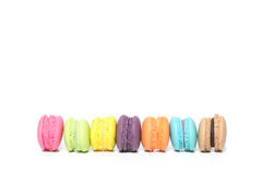 Stack of Colorful Macaroons Isolated on White With Copy Space fo Royalty Free Stock Image