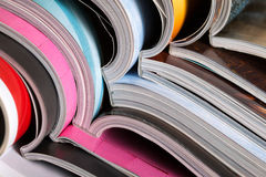 Stack of colorful magazines Royalty Free Stock Photo