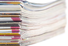 Stack of colorful magazines or documents Stock Photo