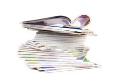 Stack of colorful magazines isolated Stock Photo