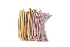 Stack of colorful magazines isolated. On white background Royalty Free Stock Photo