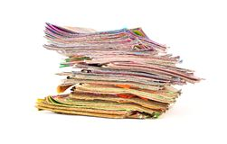 Stack of colorful magazines isolated. On white background Royalty Free Stock Images