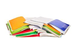 Stack of colorful magazines isolated Royalty Free Stock Photo