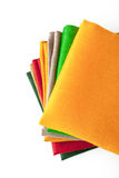 Stack of colorful napkins on the white background  top view Stock Photos