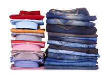 Stack of colorful office shirts and jeans Royalty Free Stock Photos