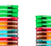Stack of colorful Petri dishes isolated Stock Images