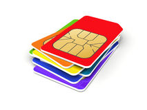 Stack of colorful phone SIM cards. Isolated on white background. 3d render illustration Stock Photos