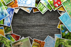 Stack of colorful photos Royalty Free Stock Photography