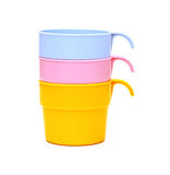 Stack of colorful plastic cups Stock Image