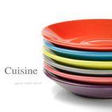 Stack of colorful plates Royalty Free Stock Photo