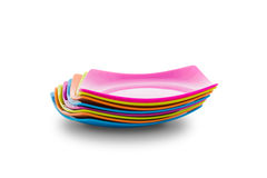 Stack of colorful plates. Menu concept Royalty Free Stock Images