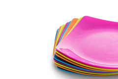 Stack of colorful plates. Menu concept Stock Photography