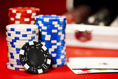 Stack of colorful poker chips Royalty Free Stock Photo