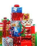 Stack of colorful presents Royalty Free Stock Images