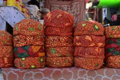 Stack of colorful Rajasthan Traditional turbans Stock Photos