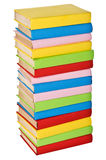 Stack of colorful real books. side view Stock Image