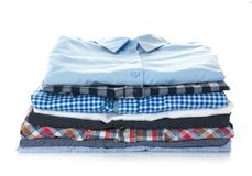 Stack of colorful shirts Stock Photo