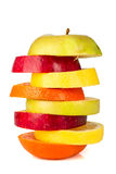 Stack of colorful sliced fruit with apple and orange Stock Images