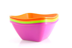 Stack of colorful snack bowls Stock Photos