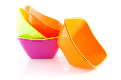 Stack of colorful snack bowls Royalty Free Stock Photography