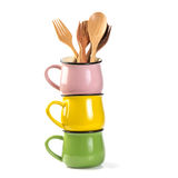 Stack of colorful  soup Cups isolated on white background Royalty Free Stock Photography