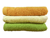 Stack of colorful spa towels. Isolated on white background. Clipping Path included royalty free stock image