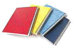 Stack of colorful spiral notebooks Stock Photo