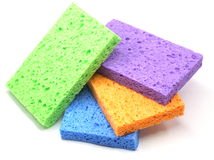 Stack of Colorful Sponges Stock Photo