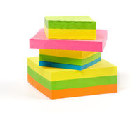 Stack of colorful Sticky Notes. Isolated on white background Stock Photo