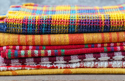 Stack of colorful textiles Royalty Free Stock Photo