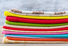 Stack of colorful textiles Royalty Free Stock Photos