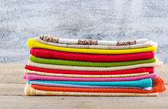 Stack of colorful textiles Royalty Free Stock Images