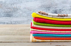 Stack of colorful textiles Stock Photo