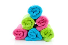 Stack of colorful towels Stock Photo