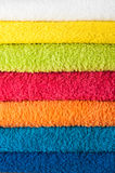 Stack of colorful towels. Closeup stock photo