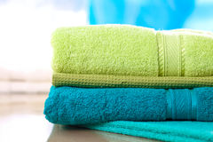 Stack of colorful towels Royalty Free Stock Images