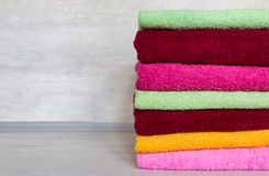 Stack of colorful towels. royalty free stock photo