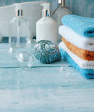 Stack of colorful towels  on the table Stock Image