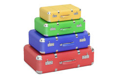 Stack of colorful travel suitcases, 3D rendering Royalty Free Stock Photos