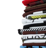 Stack of colorful tshirt. Row of colorful cotton t-shirts. Clothes background Royalty Free Stock Image
