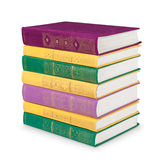 Stack of colorful vintage books with gold ornament Royalty Free Stock Photos