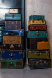 Stack of colorful vintage suitcases - 2 Royalty Free Stock Images