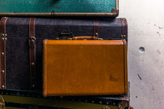Stack of colorful vintage suitcases - 5 Royalty Free Stock Images