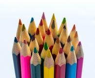 Stack of coloured children`s pencils stock photo