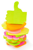 Stack of colourful blocks of memo sticks, on white Royalty Free Stock Photography