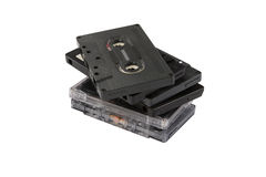 Stack of compact cassettes Royalty Free Stock Photography